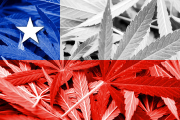 Chile Flag on cannabis background. Drug policy.