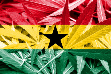 Ghana Flag on cannabis background. Drug policy.