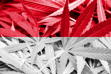 Indonesia Flag on cannabis background. Drug policy