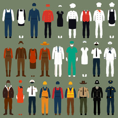 vector icon workers, profession people uniform, cartoon vector
