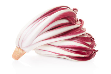 Radicchio, red chicory on white, clipping path