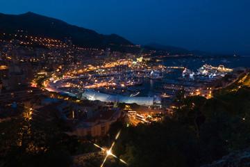 Monte Carlo port, Monaco. night scene