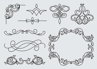 monograms menu design, calligraphic