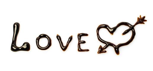 "Chocolate word ""love"""