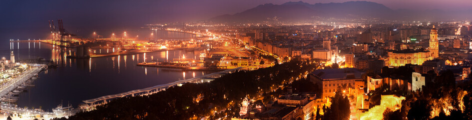 View over Malaga at night Andalusia Spain