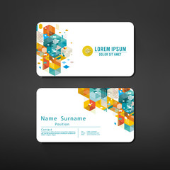 modern geometric business cards design template layout, vector