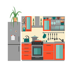 Kitchen with furniture