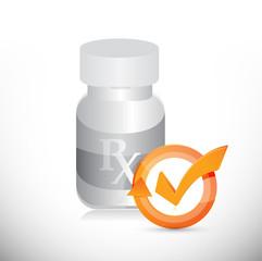 pill jar check mark cycle illustration