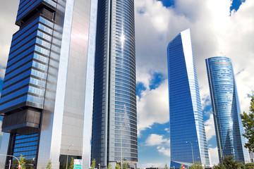 Skyscrapers Cuatro Torres Business Area in Madrid, Spain
