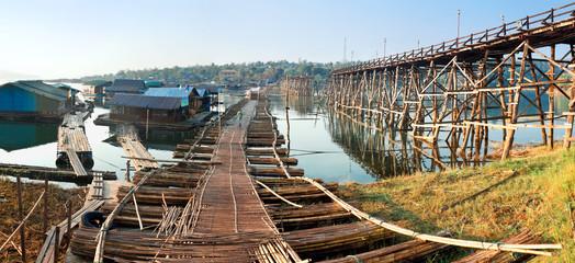 old wooden bridge Mon in Sangkhla Buri, province Kanchanaburi, T