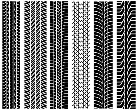 Black prints of tread of cars, vector illustration