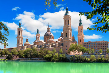 Cathedral and Ebro river in Zaragoza. Aragon, Spain Wall mural