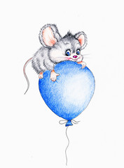 Cute mouse flying on balloon