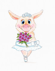 Cute pig with flowers