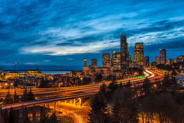 Seattle night view over illuminated downtown and freeways