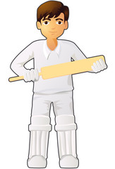 Cricket player boy vector