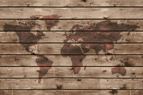 old wood texture with world map
