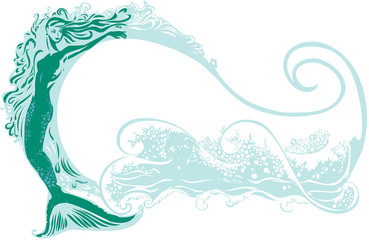 Mermaid with a wave background