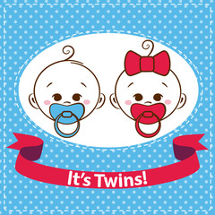 Baby boy and girl, twins icons isolated. Vector illustration