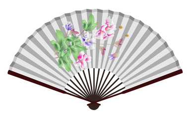 Ancient Chinese fan with lotus