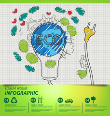 Creative drawing ecology concept. Vector illustration.