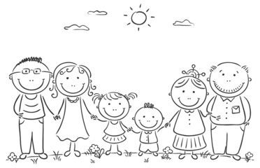 Wall Mural - Happy cartoon famile with two children and grandparents