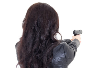 rear view of woman holding gun isolated on white