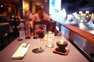 glass of wine restaurant interior serving dinner