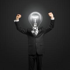 Papiers peints Echelle de hauteur lamp-head businessman with hands up
