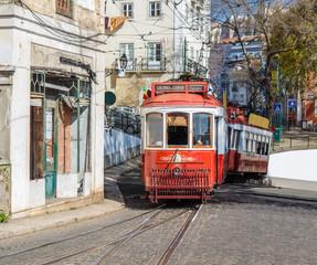 Red retro tram in Lisbon. Portugal