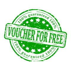 Damaged round green stamp - a voucher for free - vector