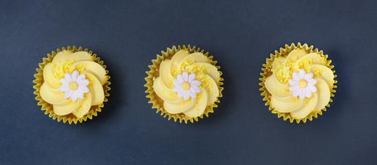 Lemon cupcakes whith daisy flower in a row on slate
