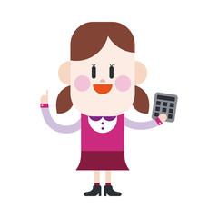 Character illustration design. Girl using calculator cartoon,eps
