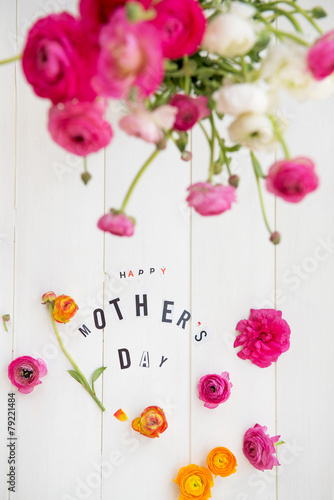 Happy Mothers Day Letters and Ranunculus