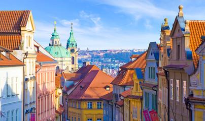 Türaufkleber Prag Prague, église saint nicolas, quartier malá strana