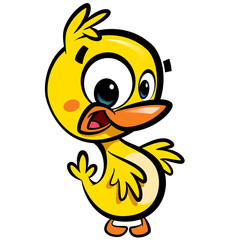 Cartoon cute little smiling baby duck character with black outli