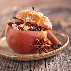 baked apple with fruits