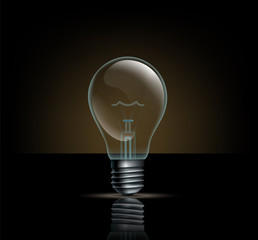 incandescent lamp on a dark background