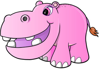 Pink Girl hippopotamus Vector Illustration Art