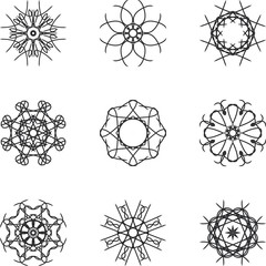 Circle snowflake ornament and pattern and decorative elements