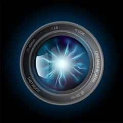 lightning discharges inside the camera lens