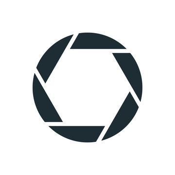 Camera shutter, simple conceptual logo
