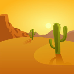 Cartoon illustration of a desert background