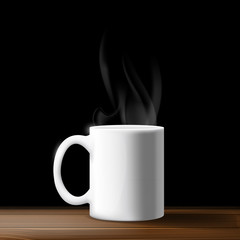 white mug on a wooden table