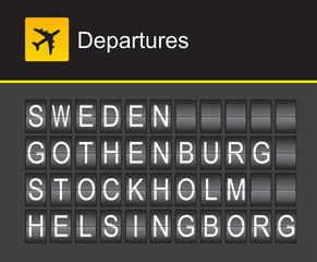 Sweden flip alphabet airport departures, Sweden