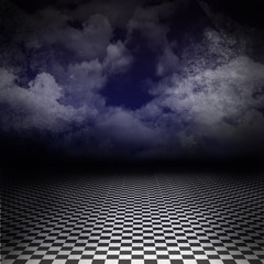 Background with black and white checker floor and blue sky