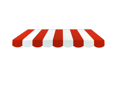 Colorful striped awning on a white background. 3D illustration