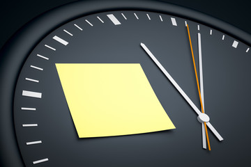 clock with sticky note