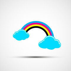 Vector logo cmyk rainbow and clouds