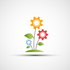 Vector flower logo in the form of gears